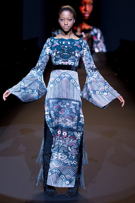"Vivienne Tam ""Water sleeve"" silk evening gown 2011"