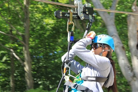 "Javier's first zipline inspection ever was at Scenic Caves in Collingwood, Ont. ""I got to try the Ziptour trolley which lets the rider control their speed,"" she smiles."