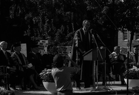 Dr. John Evans' inauguration as U of T President, in September 1972, was the first time the ceremony had been held outdoors. Photo: Robert Lansdale/ B1998-0033 [ 721214-134 ]