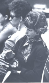 Mae Brown and tutor Joan Mactavish attending a lecture. Mae's hands were her portal to information.