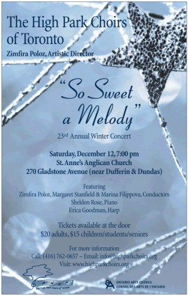High Park Choirs of Toronto, Dec 12 at St. Anne's Anglican Church, 270 Gladstone Ave. Tickets at door $20, $15 students/seniors/children