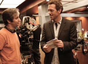 David Shore and Hugh Laurie on the set of House