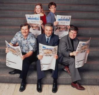 Independent thinkers: top, 2002-2003 editors Rachel Bokhout and Reuben Schwarz; below (from left), founding editors Steve Petranik, Thomas Simpson, Ken Whitehurst