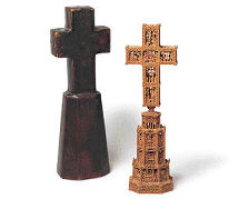 Elaborately carved cross on a base, with case, Italo-Byzantine, late 15th or early 16th century