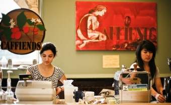 """Caffiends is non-profit and run by students, its goals are different from those of the big coffee chains. """"The whole idea at the café is that it's not a business - we sell everything at almost wholesale prices,"""" says co-manager Emily Gilbert."""