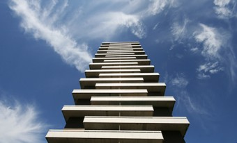 Photo of the Jenga Tower in Port Credit, Ontario, by Matthew Langford