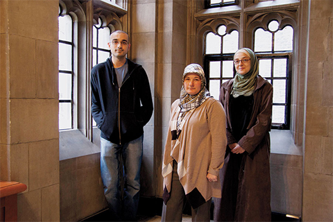 Students (from left) Khaiam Dan, Seniha Yildiz and Abier El Barbary were among the first to enrol in the Muslim Studies Program at Emmanuel College