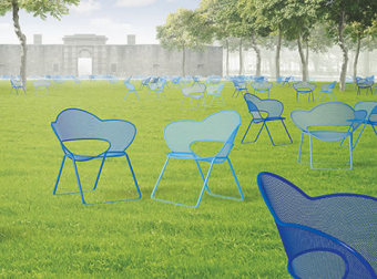 Chairs scatter like wildflowers across the grass in this artist's concept for the Fleurt design. Rendering by Joel Di Giacomo.