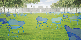 Chairs scatter like wildflowers across the grass in this artist's concept for the Fleurt design
