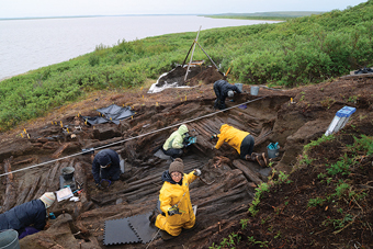 Prof. Max Friesen's research team excavates a 400-year-old, large cruciform house at Kuukpak in the Northwest Territories