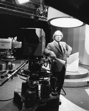 The second principal of the Scarborough campus, A. F. Wynne Plumptre, in UTSC's TV production studio. Photo by Robert Lansdale Photography. University of Toronto Archives.