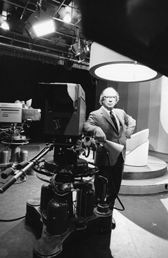 The second principal of the Scarborough campus, A. F. Wynne Plumptre, in UTSC's TV production studio