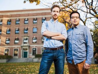 Grad students Scott McAuley (left) and Leo Mui aim to help hospitals control the spread of infections.  Photo: Anya Chibis