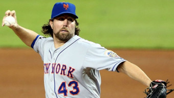 R. A. Dickey, shown here when he played with New York, is the only pitcher in Major League Baseball who uses the knuckleball.