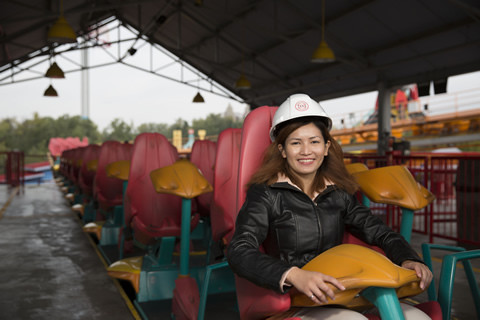Joelle Javier tests the Behemoth, a roller coaster at Canada's Wonderland. Photo: Jason H.T. Tam
