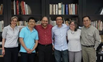 Left to right: Jill Caskey, Qingquan Zou, Adam Cohen, Yudong Wang, Linda Safran, Qingquan Li at Guangzhou Academy of Fine Art. Photo: Xian Xiaoshan