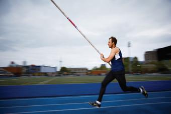 Pole vaulter Jason Wurster. Photo by Sandy Nicholson.
