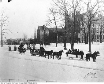 Sleighing party at Queen's Park, c. 1906. Photo courtesy City of Toronto Archives Fonds 1568, Item 492