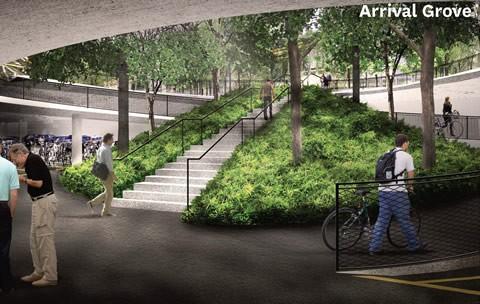 Arrival Grove, below King's College Circle, by DTAH + Michael Van Valkenburgh Associates.