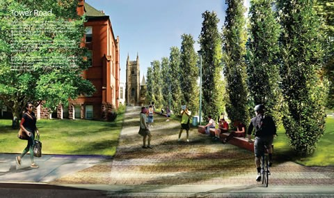 Tower Road, with a line of oak trees, by KPMB Architects + Michael Van Valkenburgh Associates + Urban Strategies.