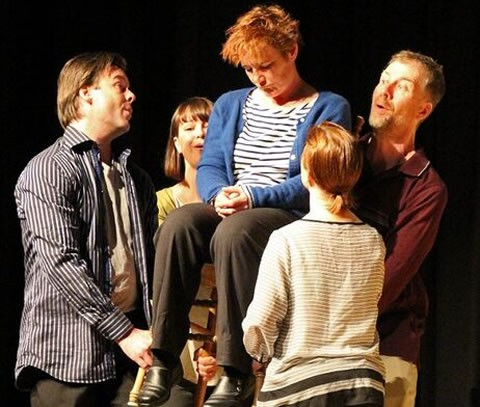 A scene from Cracked: New Light on Dementia, from a performance at Toronto's Baycrest in May 2014, with actors Mark Prince, Lori Nancy Kalamanski, Mary Ellen MacLean, Tim Machin and Claire Frances Muir. Photo by Amanda Paterson.