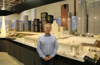 David MacLean (BASc 1985) stands in his own version of downtown Toronto. Photo courtesy of David MacLean