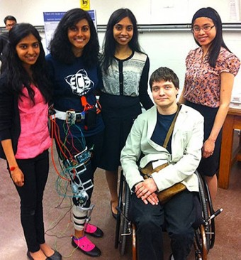 Photo of Tom Garside and four fourth-year students