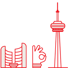 "Illustration of City Hall, the""okay"" hand gesture, CN Tower"