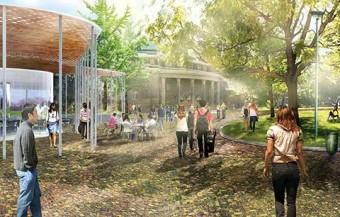 Artistic rendering of St. George front campus by Convocation Hall