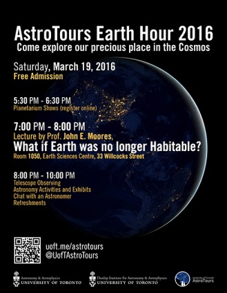 Poster for AstroTours Earth Hour 2016 event