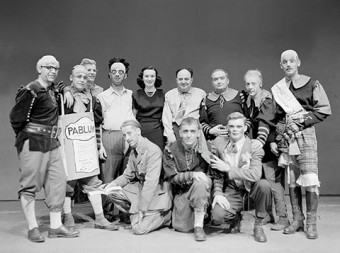 "Black and white photo of the cast of Daffydil Night, class of 4T9 ""Snow White and the Seven Achondroplastics"""
