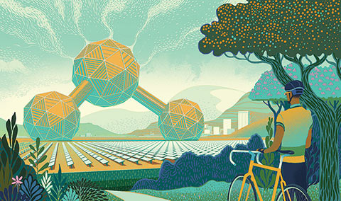 Illustration of a biker in a forest looking at a giant carbon dioxide molecule in a field of glass panels