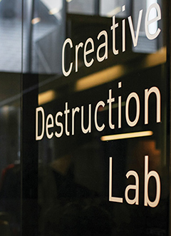 Photo of the Creative Destruction Lab signage