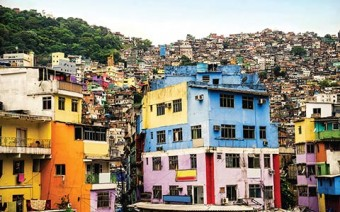 Photo of run-down residential buildings and overcrowded housing in Brazil