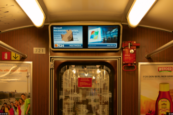 """The subway train at the top is from North Korea, the one below it from Germany. They are similar because the North Korean train was purchased from Germany. U of T Mississauga history professor Tong Lam says neither image is unusual on its own. But by juxtaposing them, he encourages his viewers, and his students, to think about context. """"In the West, we consider North Korea to be a society of surveillance. But what about our own society, especially in light of Edward Snowden's revelations about the American government's snooping? Have corporations such as Microsoft and Apple become the 'Dear Leaders' of our 'free' world?"""" Both photos by Tong Lam."""