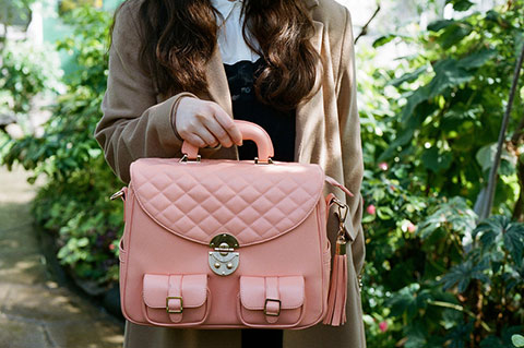 Photo of a pink, leather bag