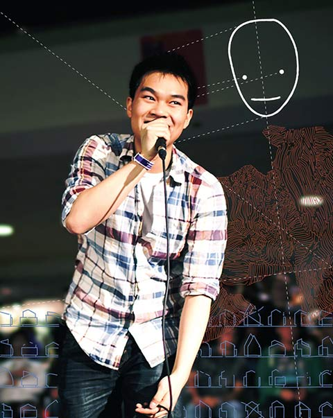 Photo of Jonathan Sun speaking into a microphone