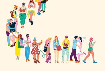 Illustration of a line of diverse, colourfully dressed people