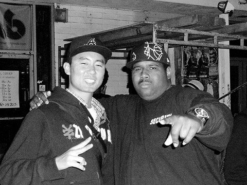 "Proof. Jooyoung Lee (left) with rapper Big Flossy. Photo by Kyle ""Verbs"" Guy."