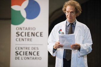 Photo of David Sugarman giving a talk at the Ontario Science Centre