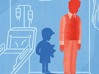 Illustration of a man with the shadow of a boy in a hospital room by Gracia Lam