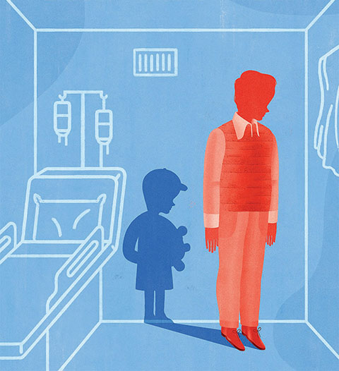 Illustration of a man with the shadow of a boy in a hospital room