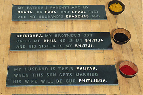 "Photo of artwork by Sarinda Dhaliwal, ""Punjabi Sheets #2: Family Tree,"" with each name of the family tree on slates with a bowl containing different coloured powders on the right"