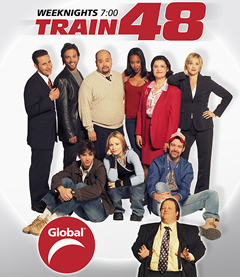 Lee, standing third from left, with the cast of Global TV's Train 48.
