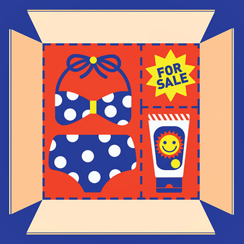 "Illustration of an open box with a bikini set, sunscreen lotion bottle and ""For Sale"" sign inside"