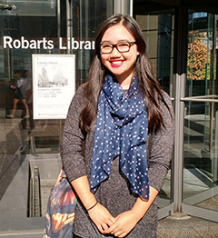 Photo of Marie Song outside Robarts Library