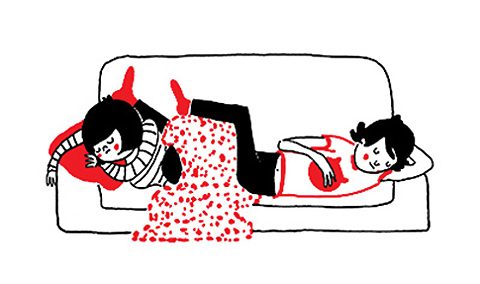 Illustration of two people napping on a couch from Philippa Rice's graphic novel, Soppy