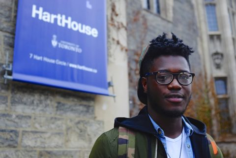 Nigerian U of T student Fara Ogunsanya, at Hart House.