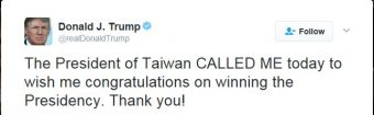 A tweet from Donald Trump about Taiwan