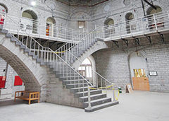 Photo of marble staircase inside the Kingston Penitentiary.